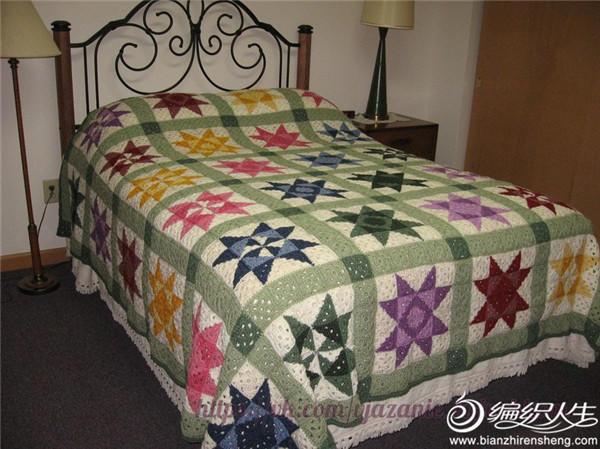 经典拼布风格经典祖母方格构成的毯子