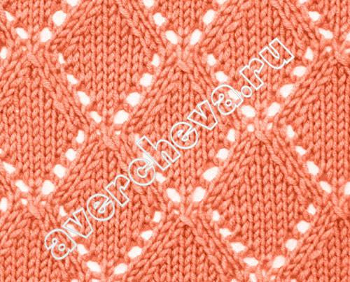 棒针编织镂空花样_棒针镂空菱形花图案-编织花样-编织人生