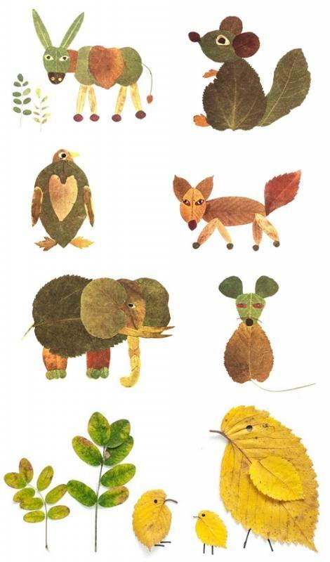 """树叶的3种""""玩法"""" 树叶画亲子diy幼儿园手工图片"""