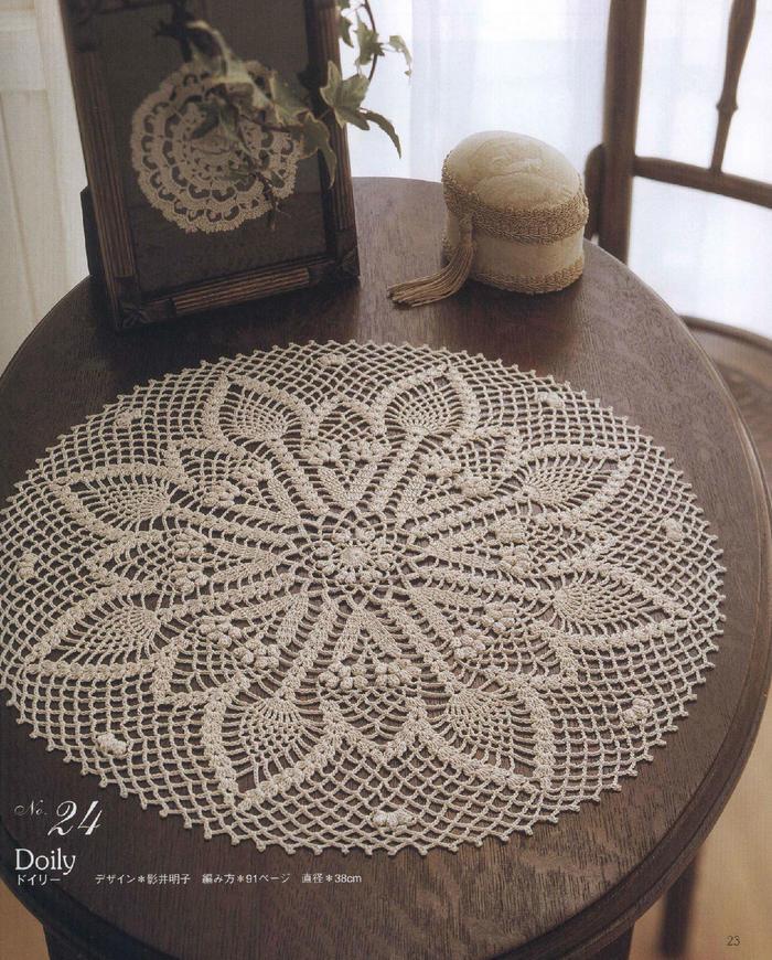 钩针圆形菠萝花桌布