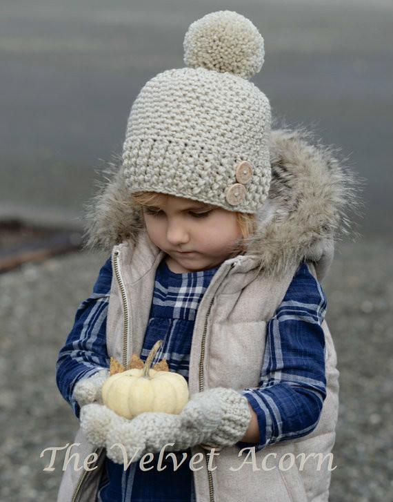 may编织作品 朴实自然暖暖的儿童帽子手套套装