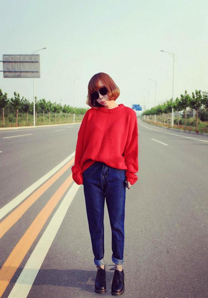 第4款:文艺范宽松休闲大红色毛衣