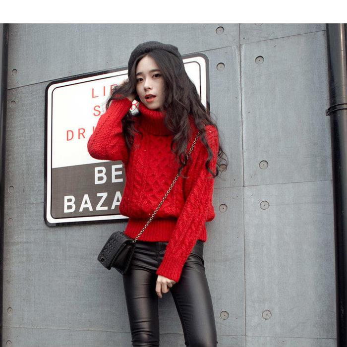 第6款:秋冬新款韩版高领大红色毛衣