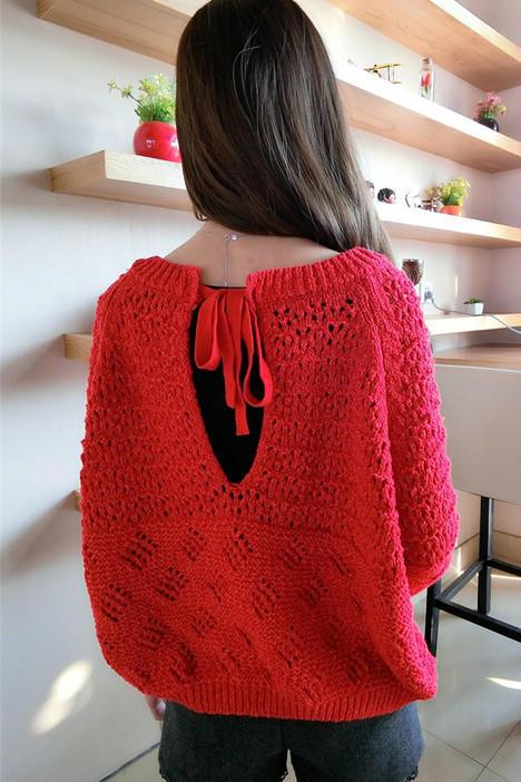 第8款:大红后领系带镂空学院风毛衣宽松毛衣