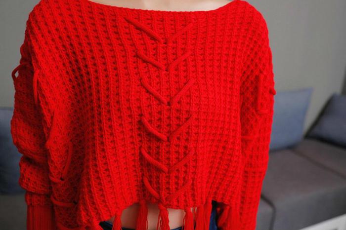 第9款:新品韩版大红流苏穿绳百搭短款毛衣