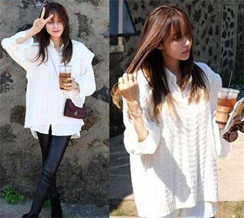显清纯气质:白色时髦的麻花编织毛衣马甲+白衬衫。如果要瘦一些,下身就选择紧身的裤子即可。
