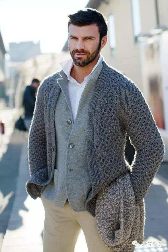 男士棒针羊绒羊毛开衫毛衣,渐变色的搭配穿出稳重绅士感