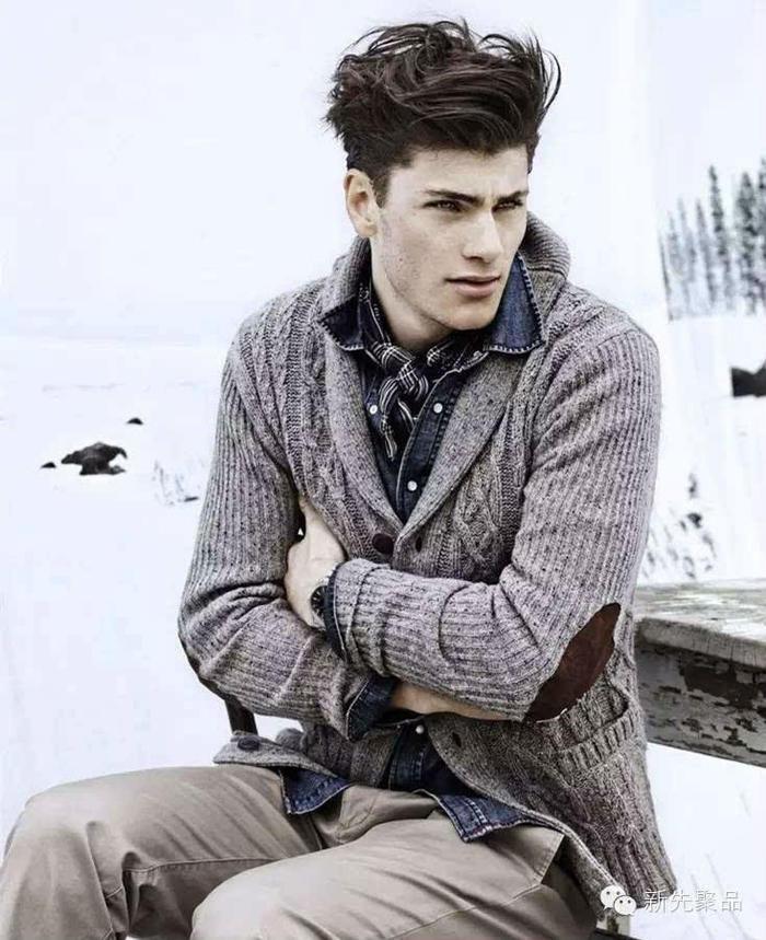 烟灰色复古花纹棒针男士开衫毛衣