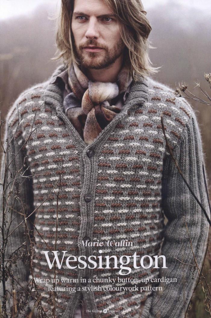 棒针编织V领男士毛衣