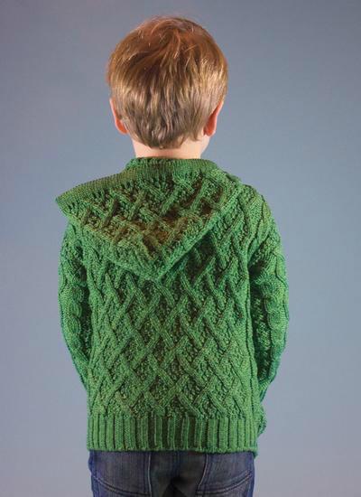 儿童棒针拉链连帽开衫阿兰毛衣