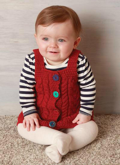 阿兰花样婴幼儿棒针系扣背带裙
