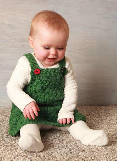 阿兰花样婴幼儿棒针背带裙
