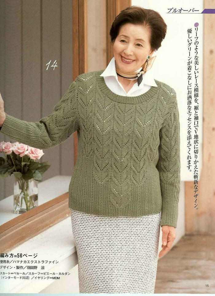女士套头毛衣款式_设计别致的棒针镂空花女士套头毛衣-女装图库-编织人生