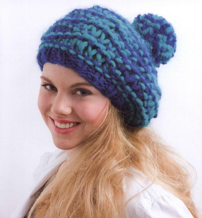 漂亮的棒针编织帽子