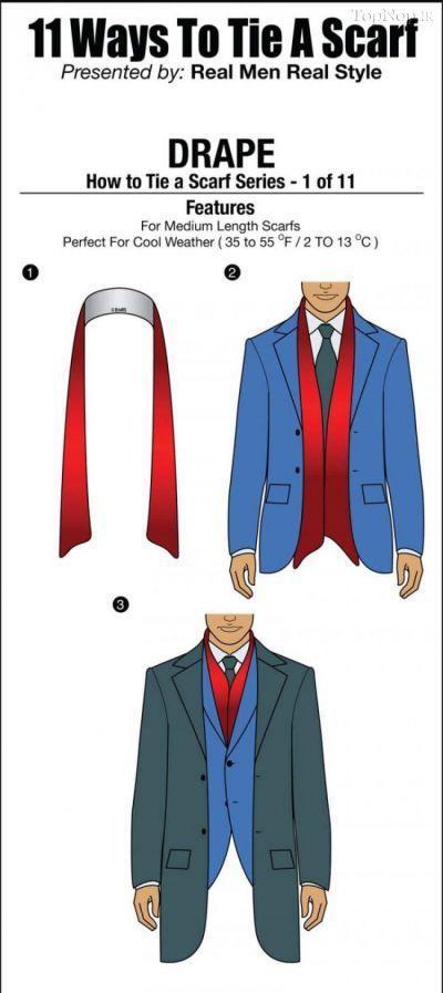超贴心男士围巾系法图解1