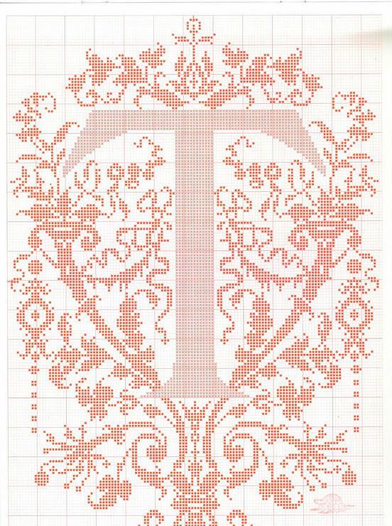 毛衣编织图案之棒针字母t钩针字母t