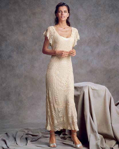 精致美貌的钩针长裙欣赏
