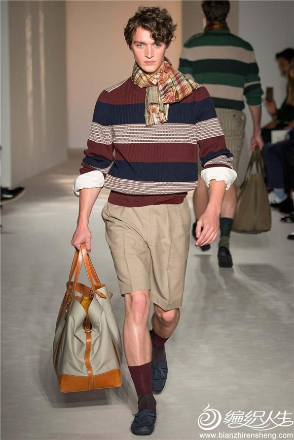 男士条纹圆领毛衣