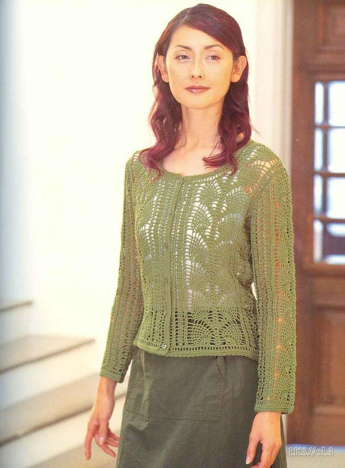 女士钩针果绿色菠萝花通勤款长袖开衫