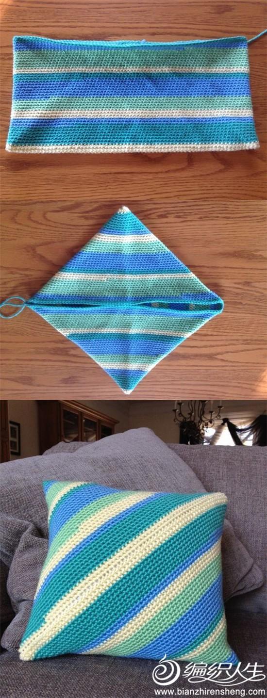 钩针斜纹抱枕套制作方法