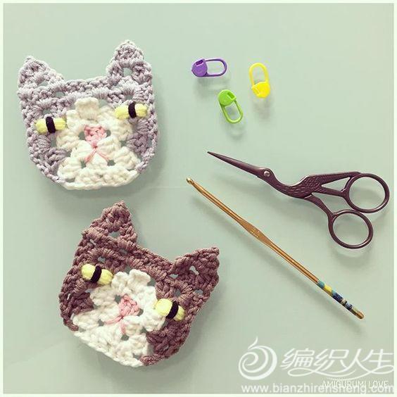"""花样,来自于instagram编织达人""""suregal27""""设计的可爱猫咪造型单元花"""