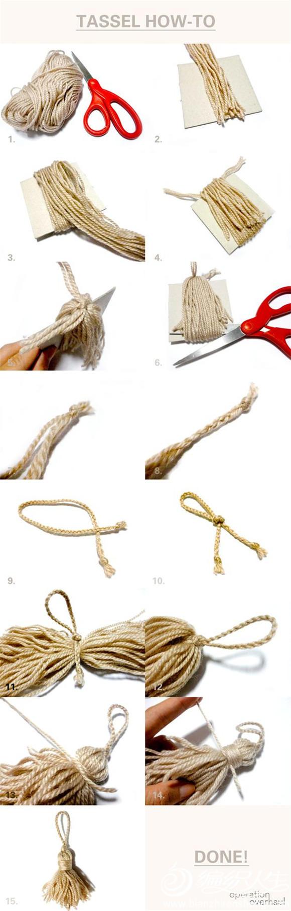 毛线流苏制作