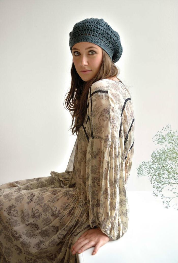 Birch女士钩针贝雷帽