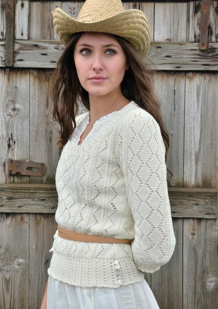 Kitt女士棒针镂空菱形花套衫