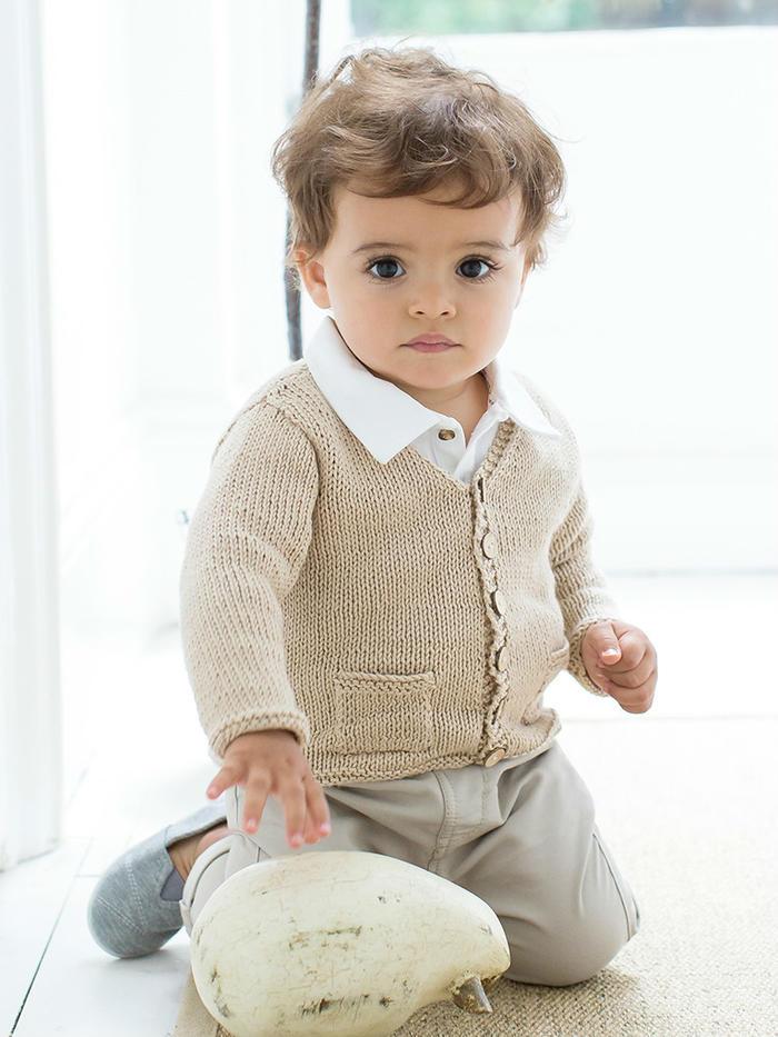 Berni宝宝棒针V领口袋小开衫
