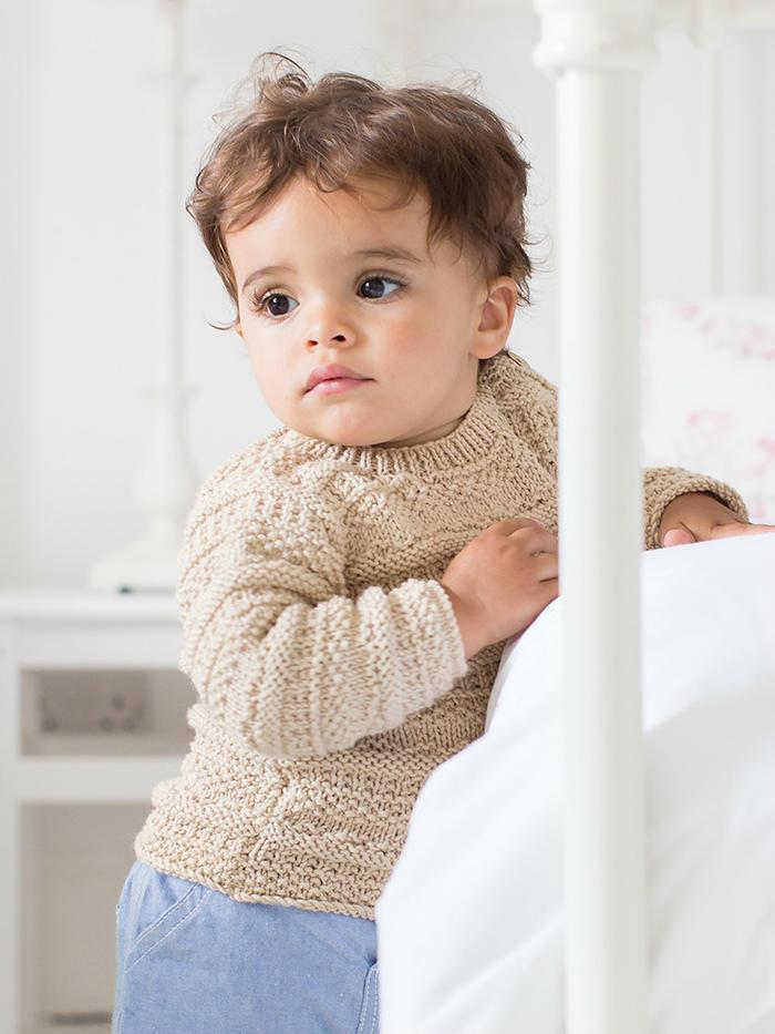 Isaac经典驼色棒针宝宝套头衫