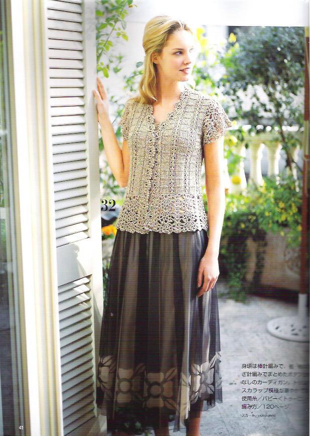 小圆扇_女士钩织结合灰色优雅短袖开衫-女装图库-编织人生