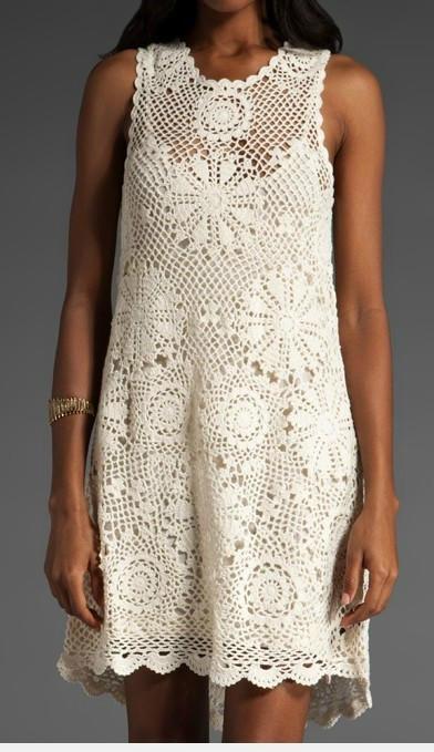 清爽娴美的夏天——白色钩针美裙欣赏