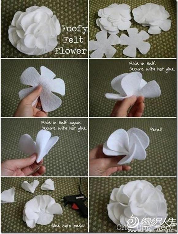 12款丝带花布艺花的制作方法 毛线编织物绝佳混搭品之一图片