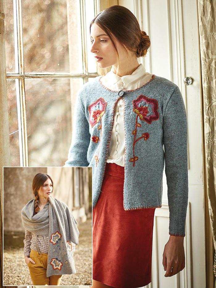 Riever女士棒针粗花呢绣花优雅开衫与大披肩