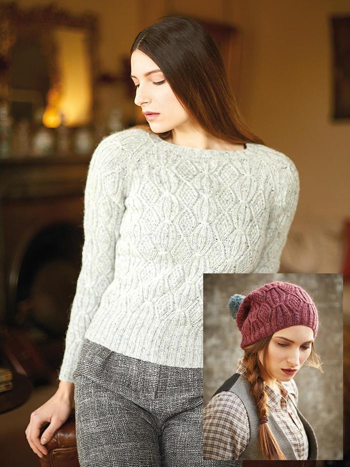 Barley中性色女士棒针绞花套头毛衣与慵懒风格毛线帽