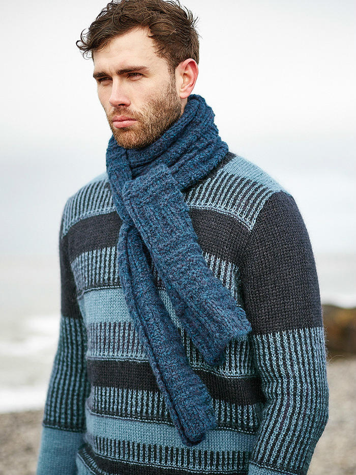 Biscotti一款新手也適合編織的男士棒針圍巾