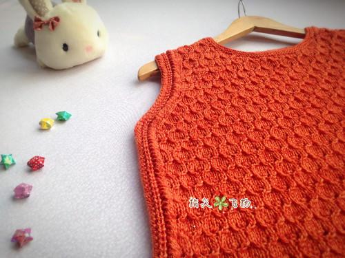 女童橙色棒针休闲背心-编织人生移动门户