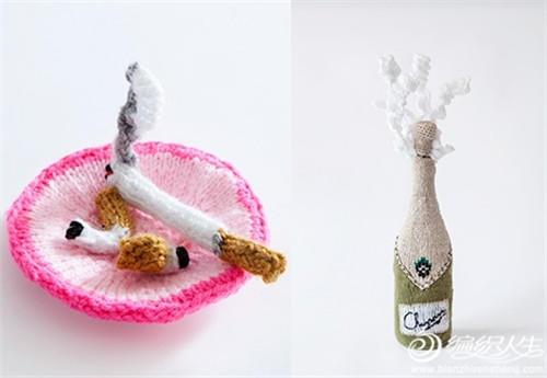 棒针编织香烟与香槟