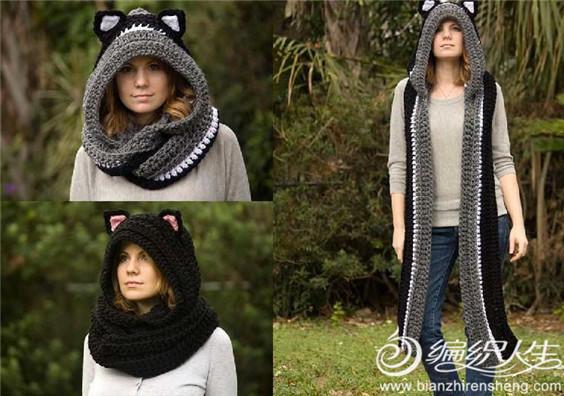 动物耳朵连帽围巾