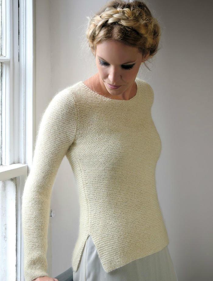 Loving米白色搓板针女士圆领毛衣