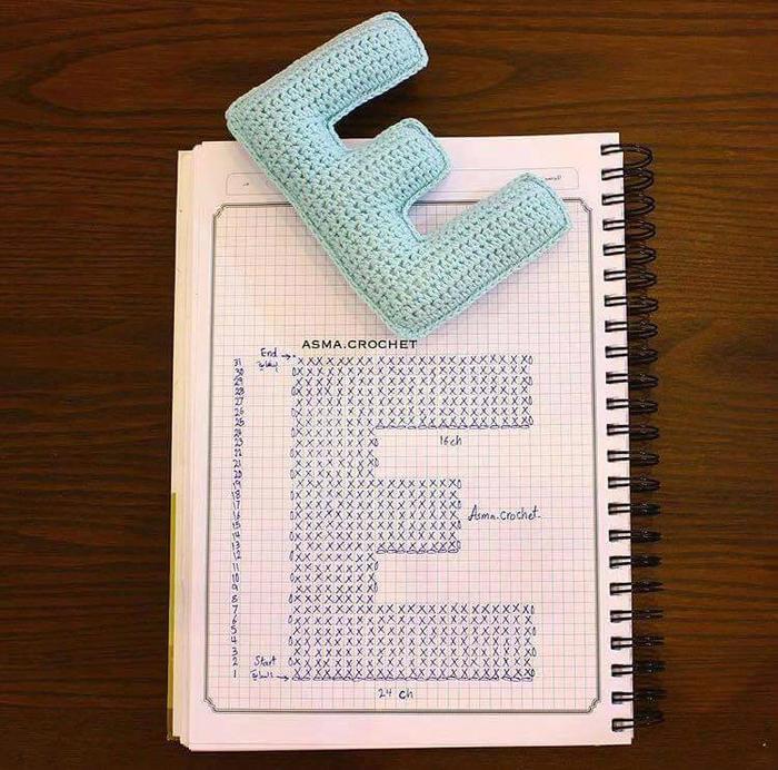 毛线字母E的钩法