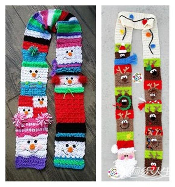 圣诞风格钩针围巾