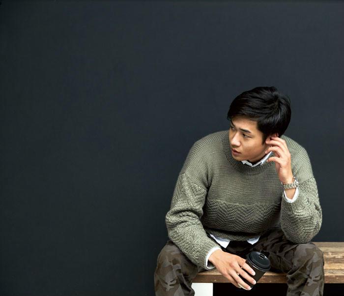 波纹男士棒针毛衣