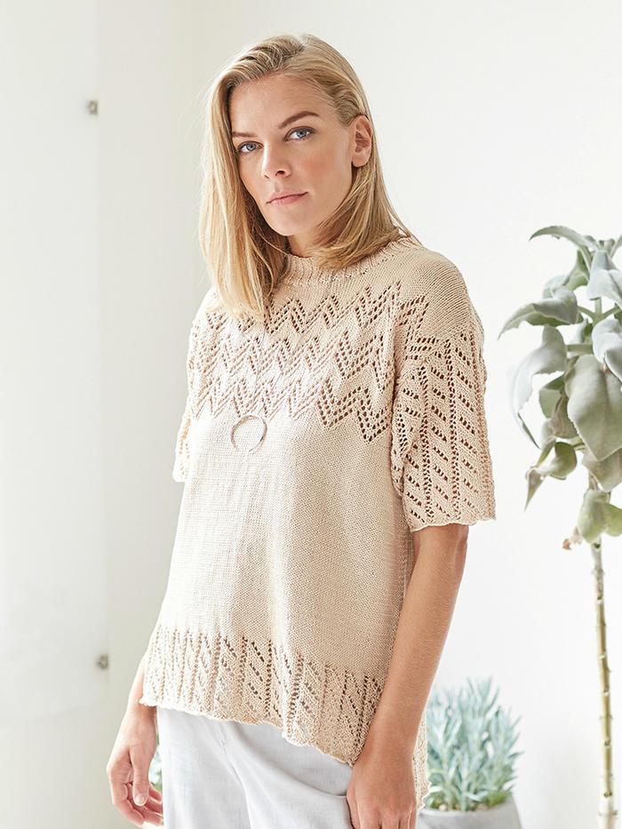 Anaadi 女士棒针V形蕾丝镂空花夏季棉线中袖衫