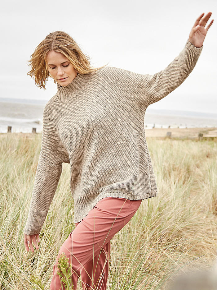 Seaham 优雅简洁时尚女士棒针宽松大毛衣