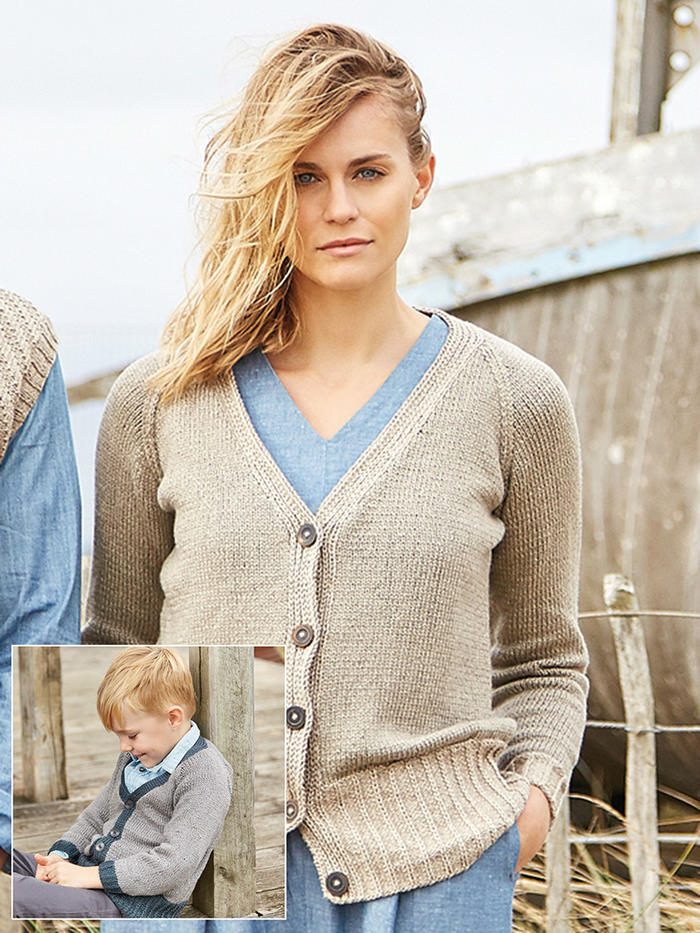 Croyde 经典棒针V领毛衣母子款毛衣