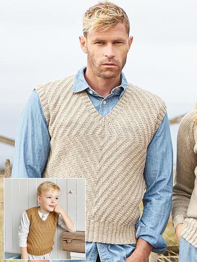 Whelk 混纺男款棒针V领背心父子款毛衣