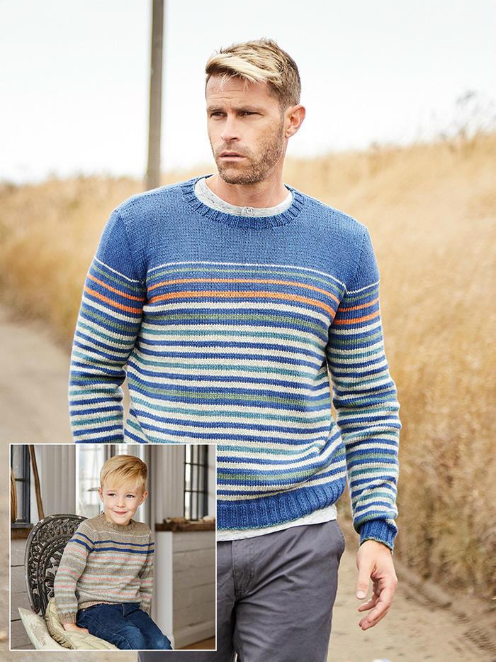Chalkwell 男款棒针圆领条纹毛衣父子款毛衣