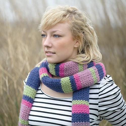 棒针条纹围巾