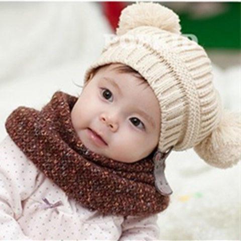 韩版棒针宝宝毛线帽